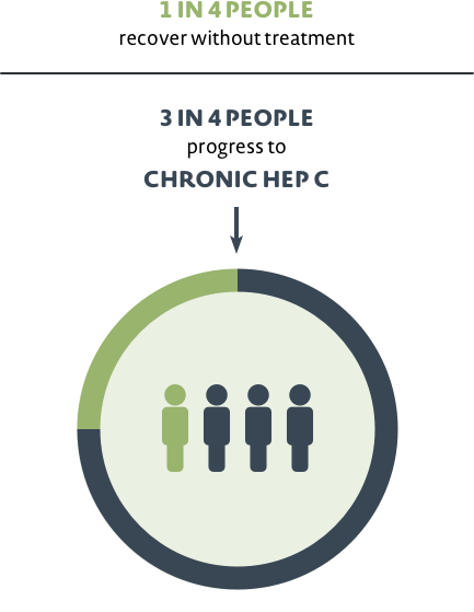 1 in 4 people recover without treatment. 3 in 4 people progress to Chronic hep C
